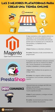 Las 3 mejores plataformas para crear una Tienda Online #infografia #ecommerce