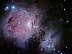 The Orion Nebula (also known as Messier 42, M42, or NGC 1976) is a diffuse nebula situated in the Milky Way, being south of Orion's Belt in the constellation of Orion.  It is one of the brightest nebulae, and is visible to the naked eye in the night sky. M42 is located at a distance of 1,344 ± 20 light years and is the closest region of massive star formation to Earth. The M42 nebula is estimated to be 24 light years across. It has a mass of about 2000 times the mass of the Sun.