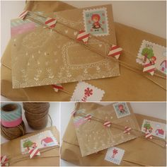 Kraft paper with red and white