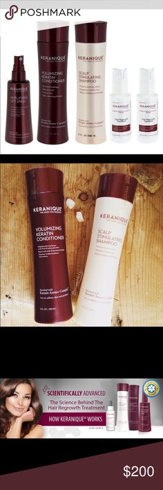 Keranique Hair growth system System features a product with an ingredient that is the only FDA approved non prescription treatment for women's hair loss. The system improves hair volume, texture and shine.   Kit Includes: Revitalizing Shampoo, Volumizing Conditioner, 2 Hair regrowth treatments, 2 Volumizing lifting sprays. keranique Other
