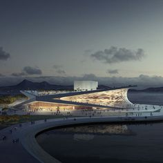 Snøhetta Wins Busan Opera House Bid is part of architecture Model Sketch Student - BUSAN Norwegian design firm Snøhetta has won a competition to realize an opera house inspired by the dramatic coastal landscape of a South Korean port city Opera House Architecture, Futuristic Architecture, Amazing Architecture, Landscape Architecture, Interior Architecture, Dezeen Architecture, Stadium Architecture, Cultural Architecture, Interior Design