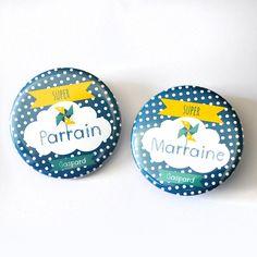2 badges ou magnets Parrain - marraine / Thème Moulin à vent
