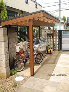 サイクルポート サイクルポート in 2020 Bicycle Garage, Bike Shed, Modern Pergola, Diy Pergola, Outdoor Bike Storage, Surfboard Storage, Rustic Backdrop, Garden Cafe, Bike Parking