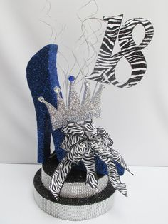 High Heel with Crown Centerpiece – Designs by Ginny Crown Centerpiece, Unique Centerpieces, Table Centerpieces, Table Decorations, Diva Party, Birthday Centerpieces, Birthday Party Decorations, Birthday Candles, Party Themes