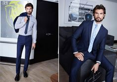 Left: Walter Savage wears a semi-tailored fit dress shirt with a dotted chambray tie, and traveller pants by LE 31. Walter completes his look with Steve Madden dress shoes. Right: Dashing in blue, Walter wears a Bosco suit with a shirt and tie by LE 31.