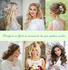 Coafuri cu accesorii de par pentru nunta Girls Dresses, Flower Girl Dresses, Bride Hairstyles, Weeding, Hair Beauty, Wedding Dresses, Tweety, Wedding Stuff, Fashion