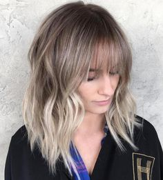 Ash Blonde Balayage Hair With Bangs