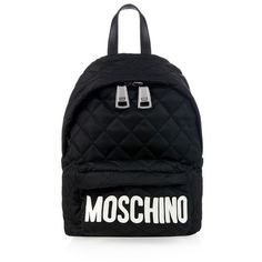MOSCHINO Lettering nylon and leather backpack (6.666.375 IDR) ❤ liked on Polyvore  featuring bags, backpacks, black white, leather bags, shoulder strap ... 5c0078de2a