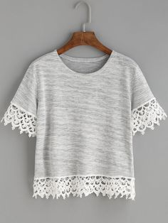 Shop Heather Grey Crochet Trim T-shirt online. SheIn offers Heather Grey Crochet Trim T-shirt & more to fit your fashionable needs.