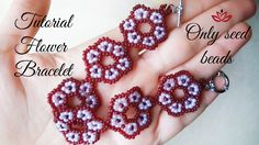 This flower bracelet is made only out of seed beads. Enjoy!  List of materials: 10/0 seed beads - 3 colours a clasp and jump rings thread of your choice - fireline etc. (I use 0.14mm (5.50lbs) monofilament beading needle - size 10 pliers scissors