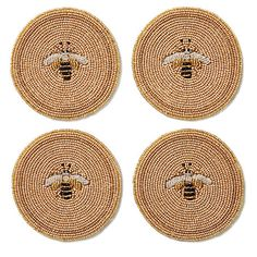 Joanna Buchanan - set of 4 beaded Bee coasters, $65, onekingslane