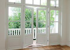 tuindeuren-balkon Blinds For French Doors, French Doors Patio, Balcony Doors, Patio Doors, House Windows, Windows And Doors, Weatherboard House, Kitchen Doors, Internal Doors