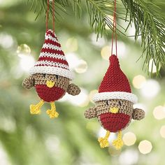 Crocheted Chicks with Hat Christmas Ornaments | Crate and Barrel
