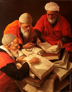 """""""The three sages"""", 2009 Painting by Stanislav Plutenko, Russian, Born 1961 sage plural noun: sages a profoundly wise man (especially in ancient history or legend) . """"the sayings of the numerous venerable sages"""" Islamic Paintings, Old Paintings, People Reading, Arabian Art, Arabian Nights, Egyptian Art, Islamic Art, Art History, Ancient History"""