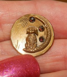 Antique Dog on Crescent Moon Brass Picture Button
