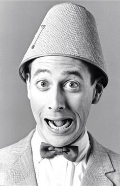 Pee-Wee Herman portrait, black and white original photograph signed, x Black White Photos, Black And White, Clarence Darrow, Pee Wee's Playhouse, Paul Reubens, Pee Wee Herman, Hat Day, Funny People, People People