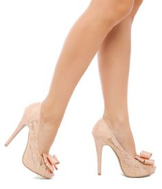 Adorable Nude / Peach Lace Bow Heels