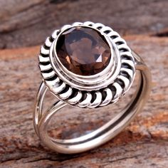 AAA Quality Faceted Smoky Quartz Oval Gemstone Stylish Ring - 925 Sterling Silver Jewelry Handmade Designer Ring Size US by arishakreation on Etsy Gypsy Rings, Boho Rings, Women's Rings, Handmade Sterling Silver, Sterling Silver Jewelry, 925 Silver, Smoky Quartz Ring, Stylish Rings, Statement Rings