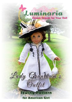 American Girl Doll Clothes Pattern in PDF To Make Lady Grantham's Suit, Dress, Outfit, Coat, Clothes by Luminaria
