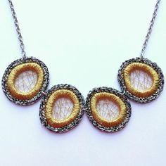 Fashion Womens Jewelry Handmade Necklace with Metallic Yarn
