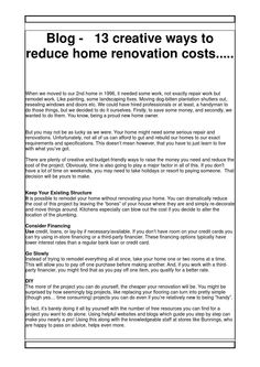 Blog 13 creative ways to reduce home renovation costs Home Renovation Costs, At Least, Creative, Blog, Blogging