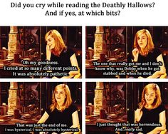 It figures that Emma would cry the most over the House Elf's death. Though admittedly it was very heartbreaking.