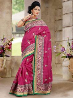 Baby Pink Bhagalpuri Silk Saree With Butta Work www.saree.com