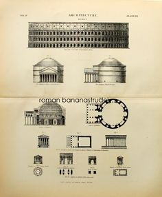 1875 Set of 2 antique architectural prints. Roman temple and mansion.