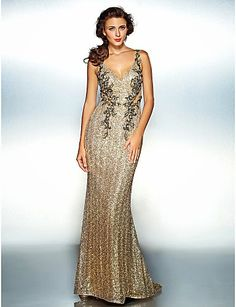 Cheap Sheath/Column V-neck Floor-length Sequined Evening Dress Free Measurement Evening Dresses Plus Size, Formal Evening Dresses, Fall Dresses, Nice Dresses, Fabulous Dresses, Gold Dress, Dress Up, Cheap Prom Dresses Online, Beautiful Evening Gowns