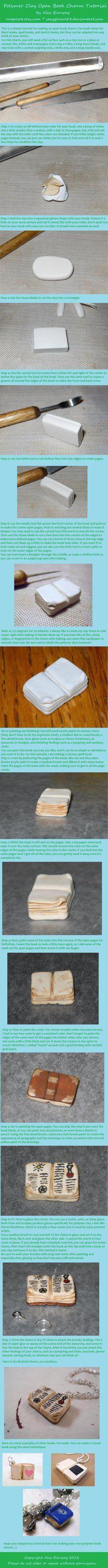 Polymer Clay Open Book Charm Tutorial by *AliaBierwag on deviantART