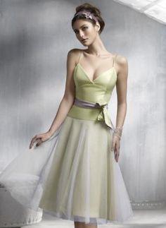 5421a242778c Light Lime A-line Spaghetti V-Neck Sash Satin Organza Bridesmaid Dress  63.88.