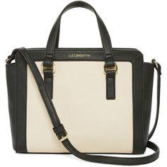 Liz Claiborne Lafayette Crossbody Satchel (€32) ❤ liked on Polyvore featuring bags, handbags, crossbody purse, crossbody satchel, top handle satchel, white handbags and satchel handbags