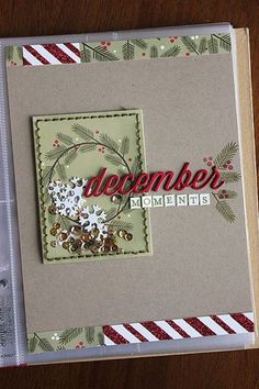 December Moments Album Cover by Heather Nichols for Papertrey Ink (December Christmas Mini Albums, Christmas Journal, Christmas Scrapbook, Christmas Minis, Christmas Paper, Christmas Cards, Retro Christmas, Christmas Christmas, December Daily