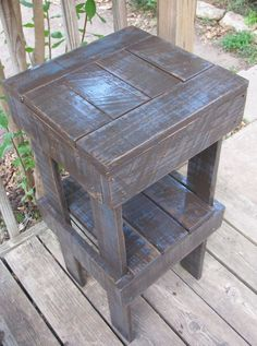 Recycled Pallet Project  Distressed Plant Stand  Radcrafter