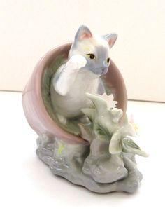 Cat Kitten in Flower Pot Porcelain Figurine Seymour Mann Bernini Design AS IS #SeymourMannConnoisseur