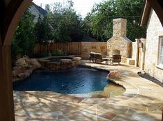 perfect small pool and outdoor fireplace. Good therapy pool for A Backyard Lazy River, Small Backyard Pools, Small Pools, Backyard Patio, Outdoor Pool, Backyard Fireplace, Backyard Ideas, Living Pool, Outdoor Living