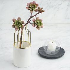 "Efavormart 8"" Gold Wrought Iron White Ceramic Vase Small Flower Pot For Wedding Decoration - Walmart.com - Walmart.com"