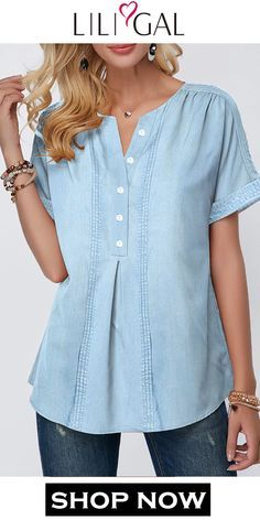 design of blouse Spring Summer Split Neck Short Sleeve Button Front Faux Denim Blouse Sewing Clothes Women, Dress Clothes For Women, Summer Dresses For Women, Denim Blouse, Blouse Outfit, Spring Fashion Outfits, Trendy Fashion, Trendy Style, Womens Fashion