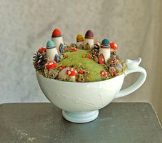 Tiny Fairy Houses and Village, Waldorf Fairy Garden in a Cappuccino Cup, Needle…