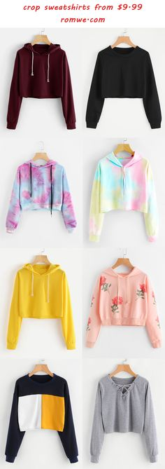 crop sweatshirts 2017 romwe com crop sweatshirt Girls Fashion Clothes, Teen Fashion Outfits, Cute Fashion, Outfits For Teens, Girl Fashion, Girl Outfits, Summer Outfits, Cool Clothes For Girls, T Shirts For Girls