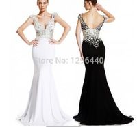 Robe De Soiree 2014 New Arrival Sexy beads chiffon Formal Evening dress Fashion Long Evening Gown-155$
