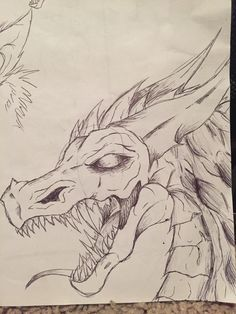 Dragon sketch I did with a pen in a restaurant lol ^-^ By: Kaneki~ WHY DO PPL KEEP SAVING THIS ITS AWFUL OMG XD
