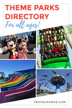 Theme Parks Directory for All Ages featuring tips and tales for visiting Disneyland, Walt Disney World, Universal theme parks, SeaWorld, Legoland, Canada's Wonderland, water parks, animal-themed parks, aquariums, botanic gardens and more!