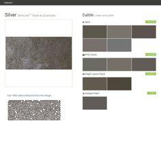 Silver. SlimLite™ Slate &Quartzite. Linear and plank. Daltile. Behr. PPG Paints. Ralph Lauren Paint. Valspar Paint.  Click the gray Visit button to see the matching paint names.