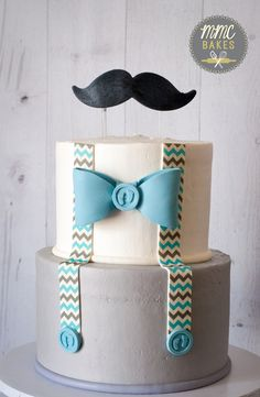 mmc bakes, little man cake, baby blue, mustache cake, baby shower cake, san diego, chula vista, custom cake, buttercream cake, chevron, bow tie, mustache, baby shower, two tier, mustache cake
