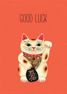 Etsy の lucky cat card by beccastadtlander Maneki Neko, Neko Cat, Good Luck Pictures, Good Luck Cards, Personalized Greeting Cards, Cat Cards, Crazy Cats, Japanese Art, Cat Lovers