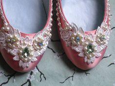 peaches and cream bridal ballet flats