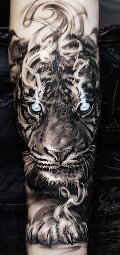 new tiger tattoo sleeve Tiger Forearm Tattoo, Tiger Eyes Tattoo, Tiger Tattoo Sleeve, Lion Tattoo Sleeves, Tiger Tattoo Design, Forearm Tattoo Design, Best Sleeve Tattoos, Tattoo Sleeve Designs, Wolf Tattoos