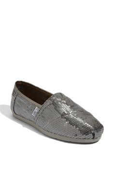 """oh. my. word. I did it. I didn't think I would, and I'm not totally convinced I acutally *will* wear them, but I did it -- I got some Tom's. And I got them with sequins on them. """"Wow"""" said Brian. They are comfy and I wanted some comfy bling for all my walking in Spain!"""