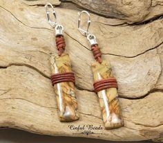 Red Creek Jasper Leather Earrings, Gemstone Dangle Leather Earrings For Women, Leather Wrapped Red Creek Jasper Earrings by CinfulBeadCreations on Etsy